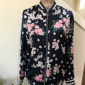Divided floral bomber jacket